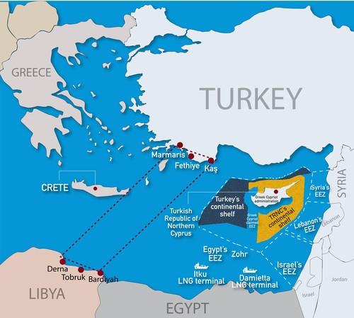 טורקיה דוחפת למלחמה עם יוון, מצרים וקפריסין - כאשר בזזה את המים הכלכליים שלהן - לחסום מה?