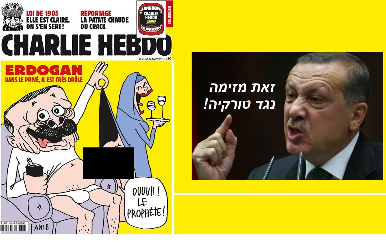 """ראשים הולכים לעוף (תרתי משמע): קריקטורה פוגענית נגד הסולטן ב""""שרלי הבדו"""" + הנביא:"""